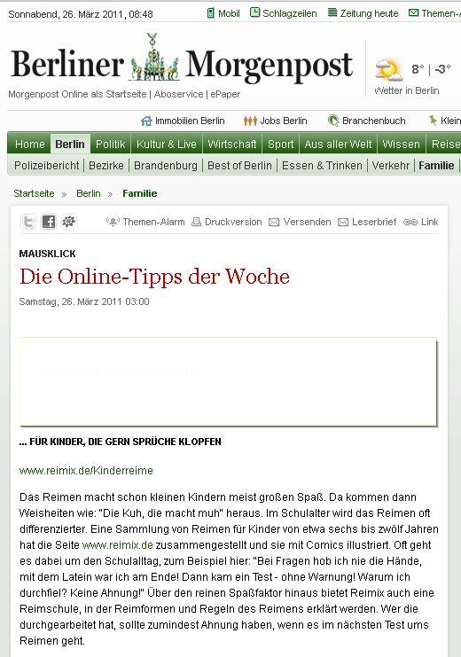 Screenshot der Berliner Morgenpost vom 26. März 2011