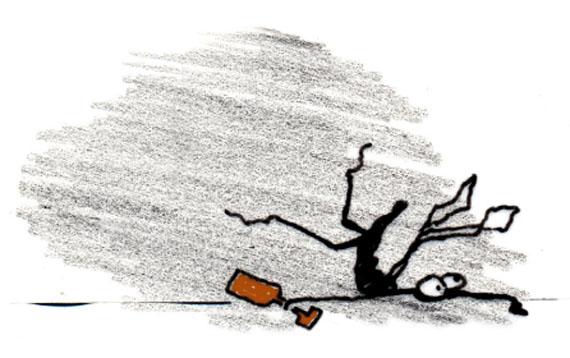 Illustration einer betrunkenen Mücke von Brigitta Bungard