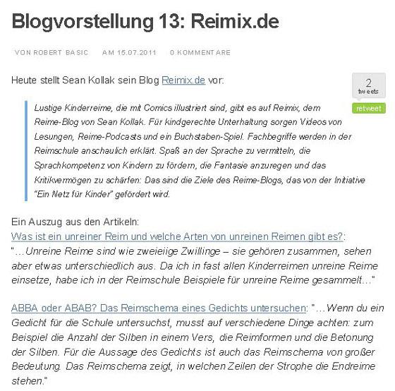 Screenshot vom Robert Basic Blog