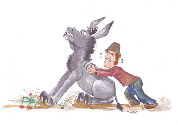 Illustration und Comic-Zeichnung eines faulen Esels von Lona Azur