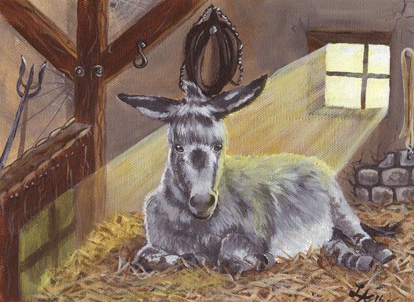 Romantische Illustration – Esel liegt im Stall auf Heu