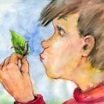 Kinderbuchillustration - Junge betrachtet Wurm von Agnes Zug