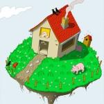 Fliegendes Haus mit Garten