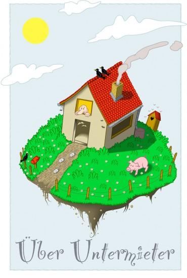 Comiczeichnung: Haus mit Garten schwebt durch Luft