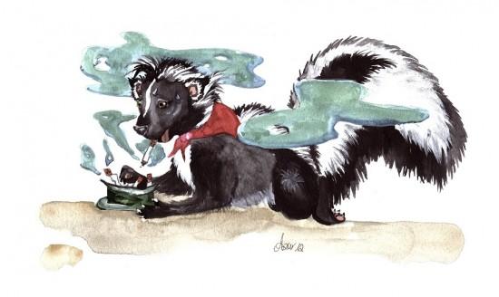 Illustration Rauchendes Stinktier