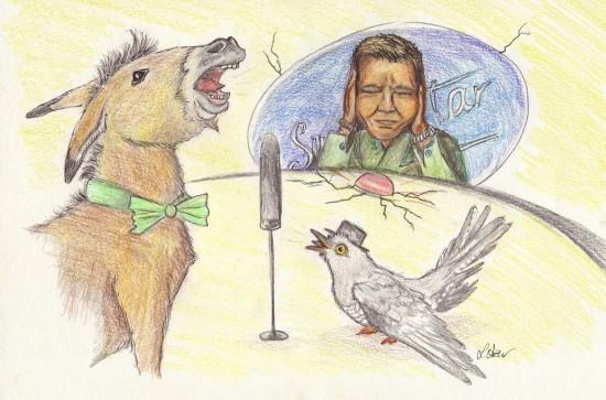 Kuckuck und Esel: Zeichnung von Lona Azur
