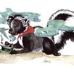 Illustration Rauchendes Stinktier von Lona Azur