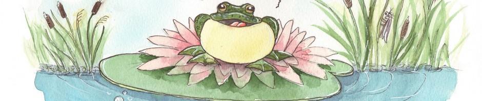 Frosch sitzt auf einer Seerose und quakt.